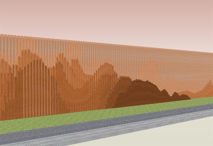 创意参数化层叠木格栅山水景墙su模型[原创]