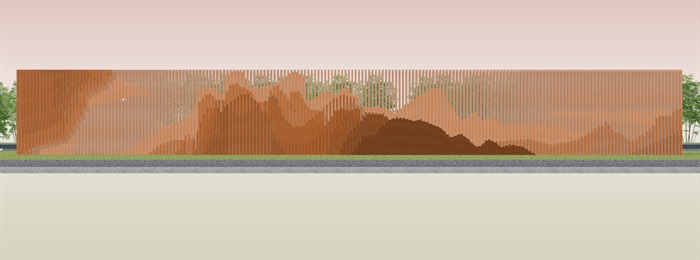 创意参数化层叠木格栅山水景墙(4)