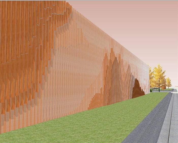 创意参数化层叠木格栅山水景墙(5)