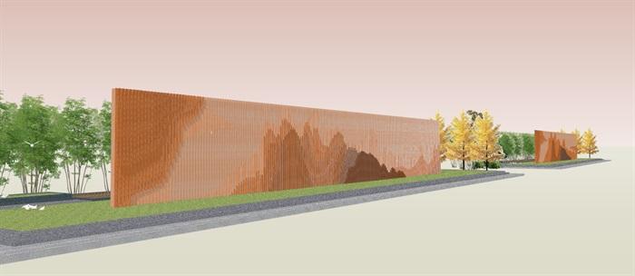 创意参数化层叠木格栅山水景墙(6)