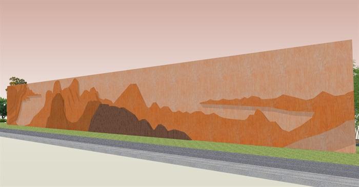 创意参数化层叠木格栅山水景墙(7)