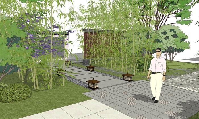建筑屋顶绿化花园景观竹林(1)