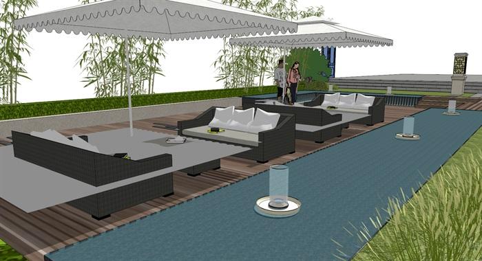 建筑屋顶绿化花园景观竹林(3)