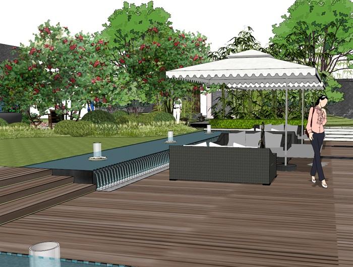 建筑屋顶绿化花园景观竹林(5)