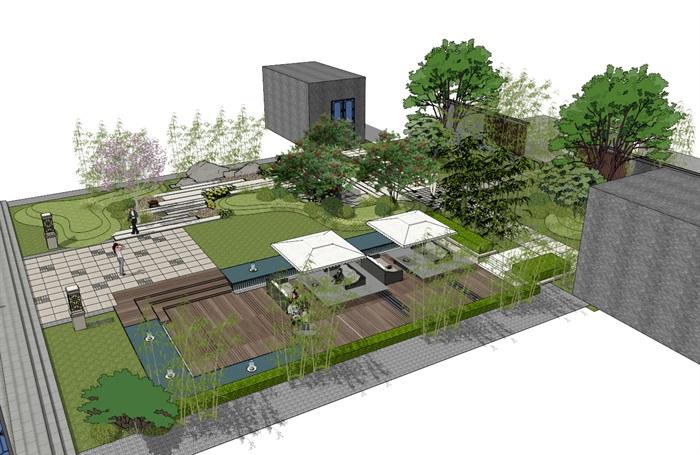 建筑屋顶绿化花园景观竹林(6)