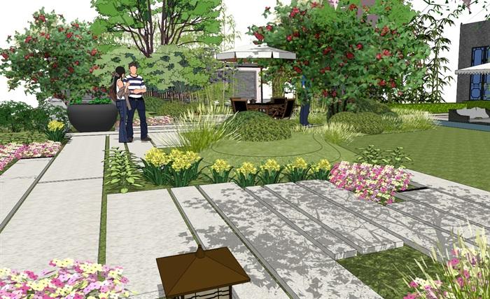 建筑屋顶绿化花园景观竹林(7)
