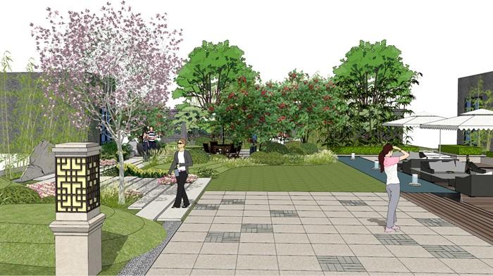 建筑屋顶绿化花园景观竹林(8)