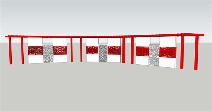 某新中式景墙廊架设计su模型