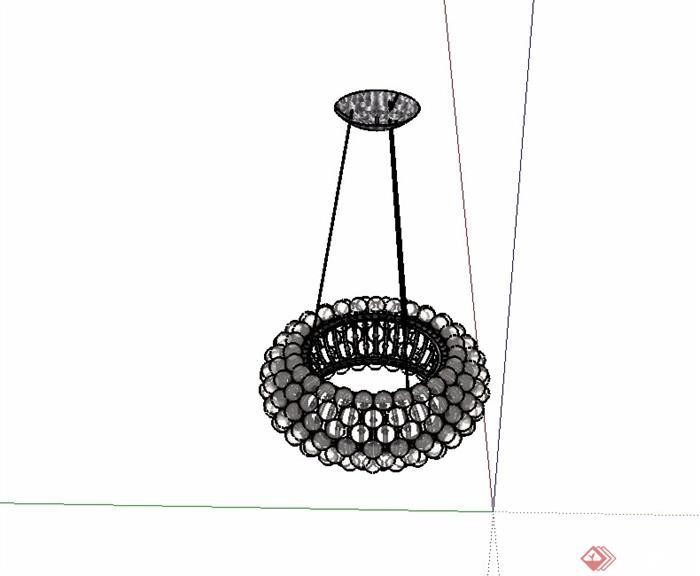 现代风格详细水晶吊灯顶灯素材su模型