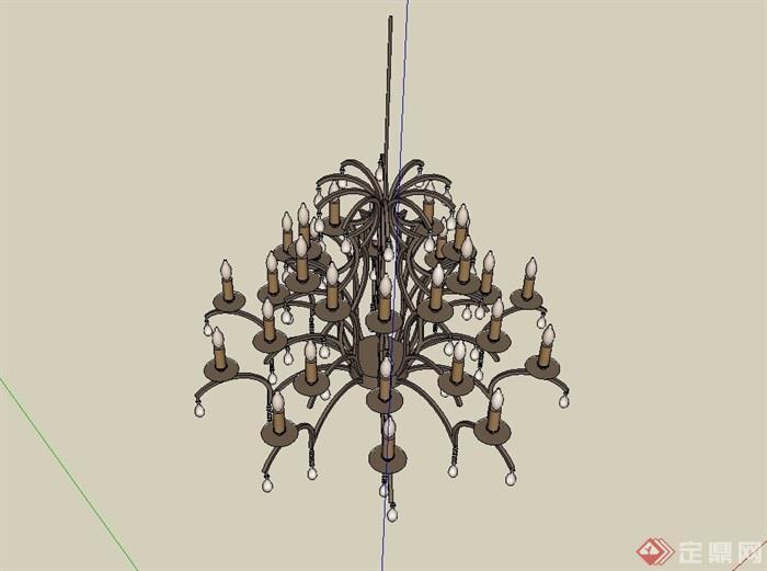 某西班牙风格吊灯素材设计su模型