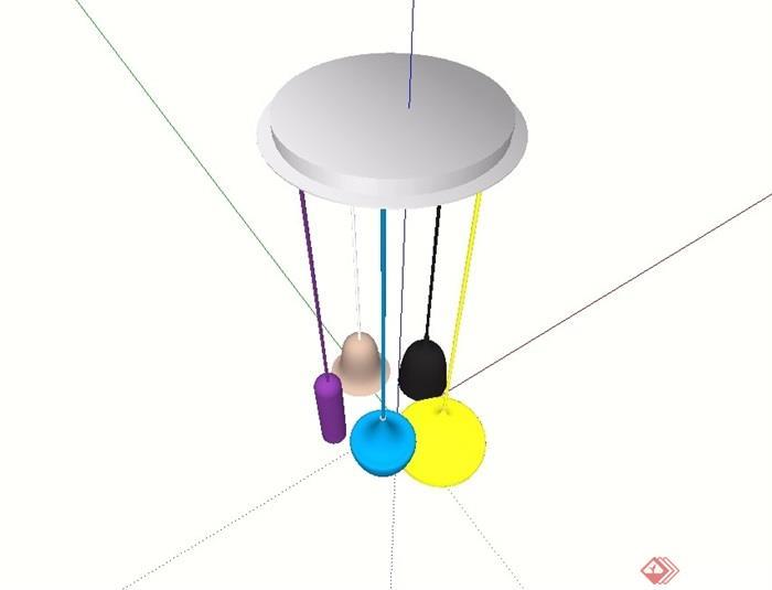 简约室内吊灯顶灯设计su模型