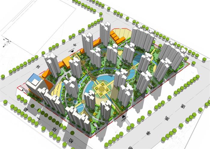 某现代风格居住小区规划设计su模型模型