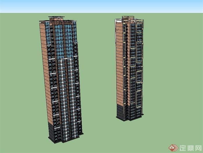 简约现代住宅楼高层su模型
