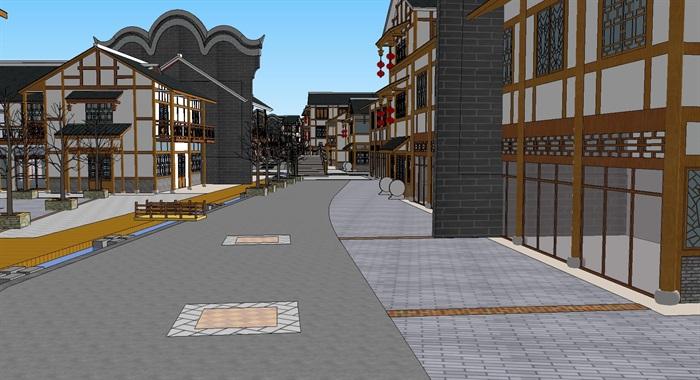 旅游村镇改造中式商业街(3)