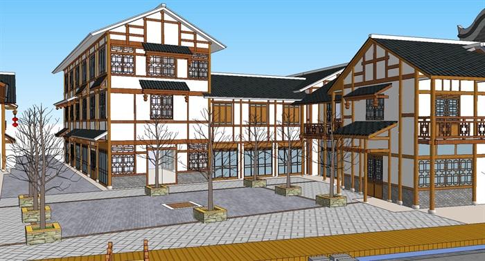 旅游村镇改造中式商业街(4)