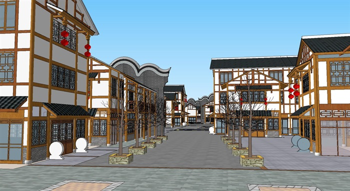 旅游村镇改造中式商业街(5)