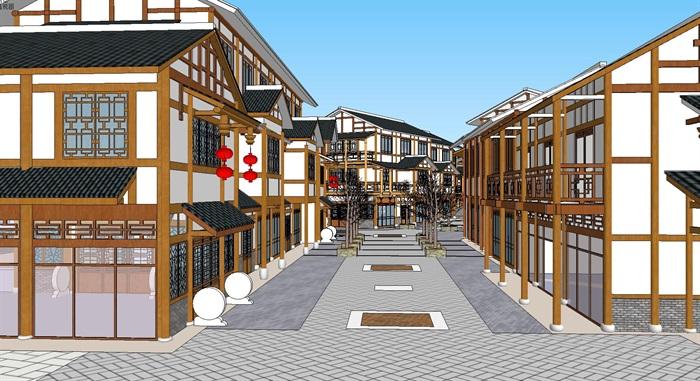 旅游村镇改造中式商业街(6)