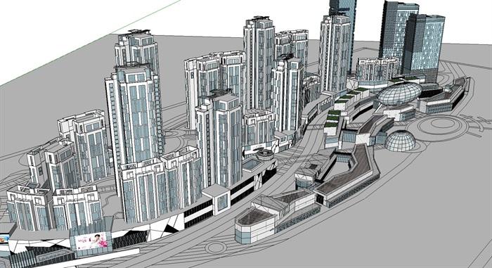 曲线型布局高层住宅商业办公建筑综合体(1)