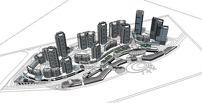 曲线型布局高层住宅商业办公建筑综合体(2)