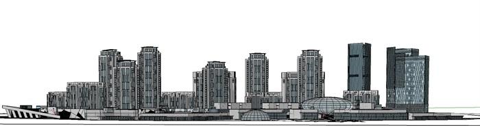 曲线型布局高层住宅商业办公建筑综合体(3)