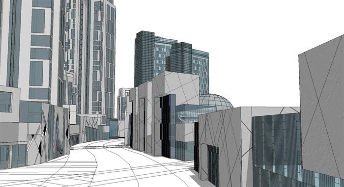 曲线型布局高层住宅商业办公建筑综合体(4)