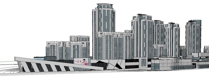 曲线型布局高层住宅商业办公建筑综合体(5)