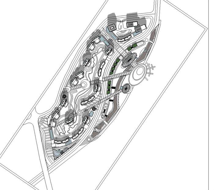 曲线型布局高层住宅商业办公建筑综合体(6)