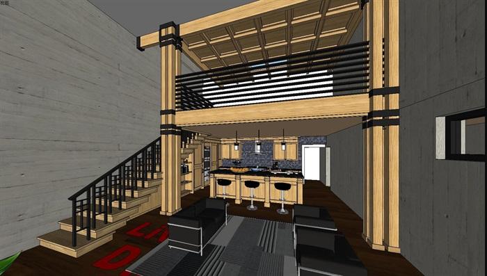 现代工业风木构私人住宅别墅与室内设计(2)