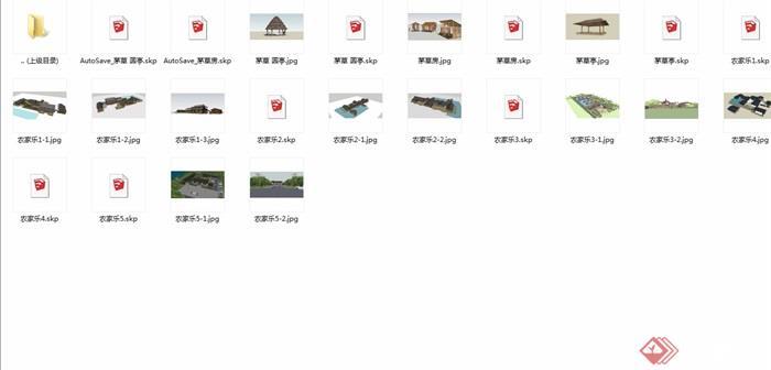 中式风格多种不同的茅草亭su模型