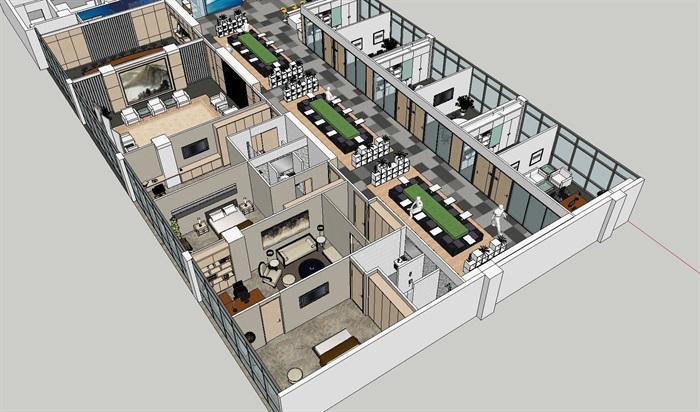 现代暖色调开放式办公工作室内设计(1)