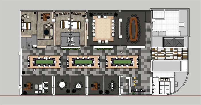 现代暖色调开放式办公工作室内设计(7)