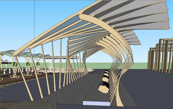 11组创意参数化廊架花架素材su模型
