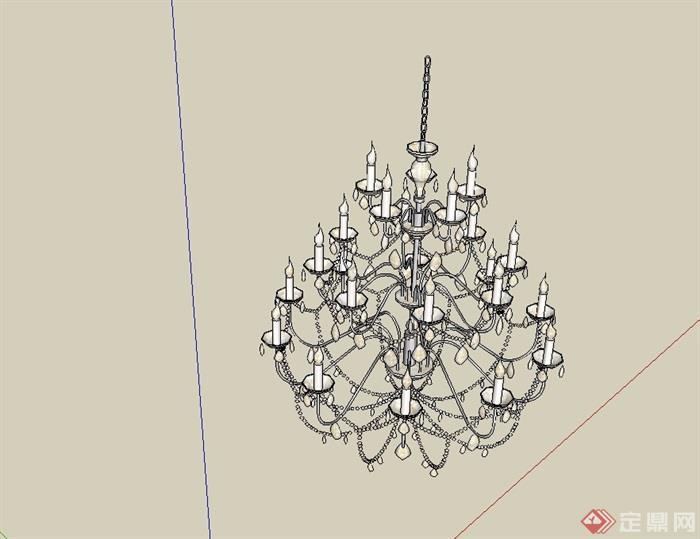 歐式風格經典詳細完整的吊燈素材su模型