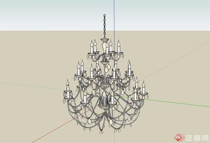 欧式风格经典详细完整的吊灯素材su模型