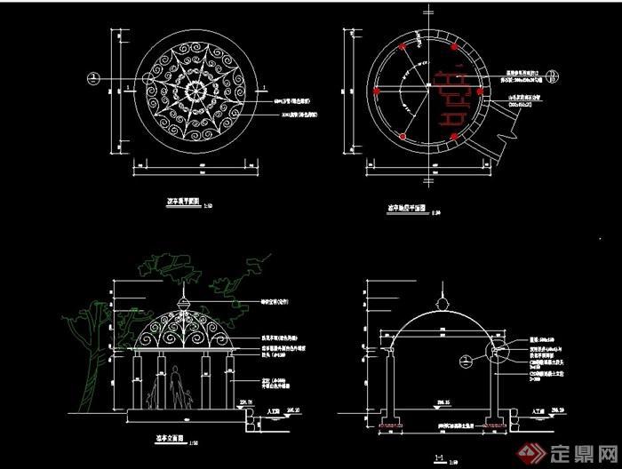 欧式风格圆形亭设计cad施工图