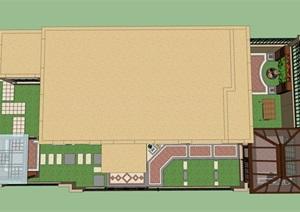 田园风格屋顶花园详细景观SU(草图大师)模型