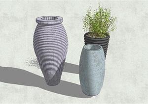 陶罐多个组合小品设计SU(草图大师)模型