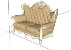 欧美风格详细室内沙发设计SU(草图大师)模型