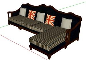 简欧风格详细的沙发组合SU(草图大师)模型