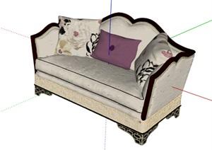 欧式风格经典室内沙发SU(草图大师)模型