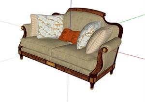 欧式风格详细室内客厅沙发素材SU(草图大师)模型