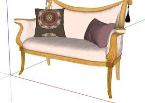 欧式风格详细客厅沙发SU(草图大师)模型