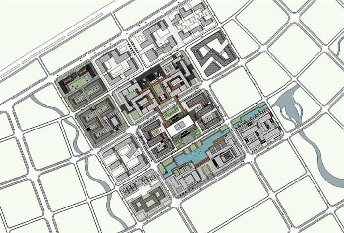 现代大学校园校区规划与创意红砖教学楼设计su模型图片