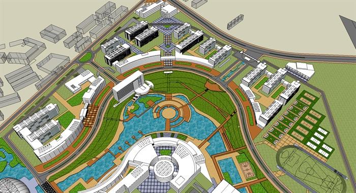 不规则基地中央水系现代大学校园校区规划建筑su模型图片