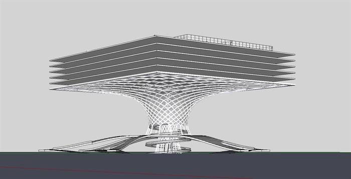 概念性参数化新结构螺旋坡道式建筑su模型[原创]