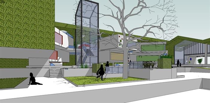 国外创意连续绿植坡屋顶彩色空间幼儿园设计建筑su模型[原创]