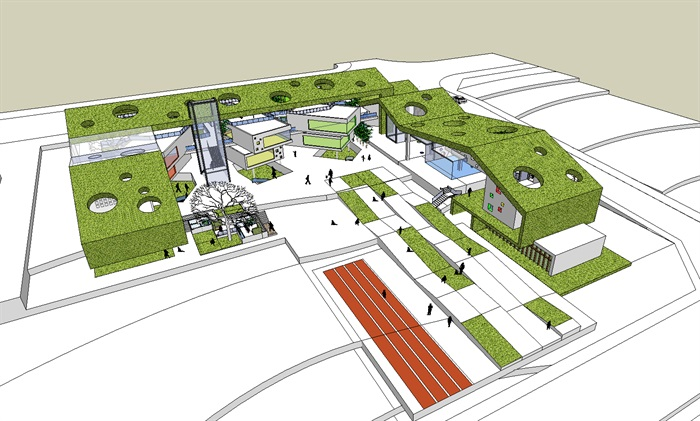 国外创意连续绿植坡屋顶彩色空间幼儿园设计(8)