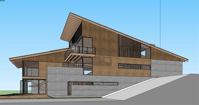 坡地高差日式木构坡屋顶创意现代住宅别墅建筑su模型