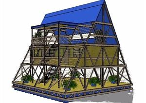 现代风格三角形阳光房设计SU(草图大师)模型