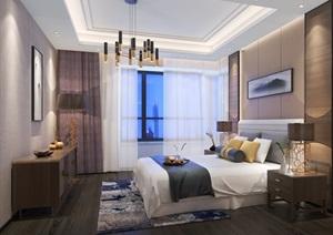 现代卧室详细室内设计SU(草图大师)模型